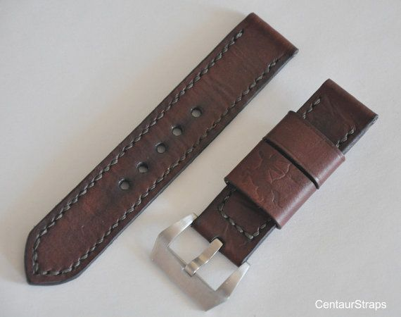 Vintage ammo style handmade leather watch strap by CentaurStraps
