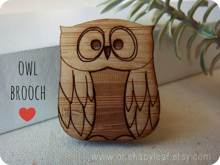Owl brooch in lasercut eco friendly wood - available via www.onehappyleaf.etsy.com