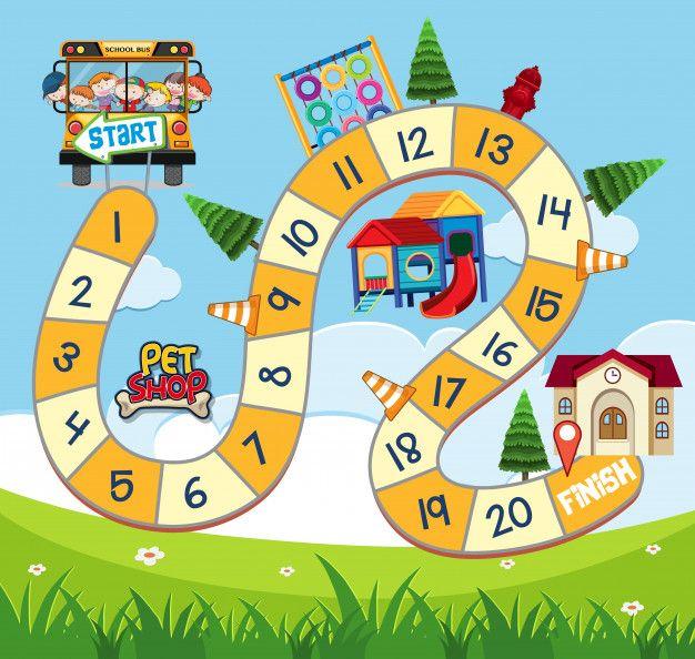 Modelo De Design De Jogo De Tabuleiro Com Criancas No Onibus Escolar Jogos De Tabuleiro Jogos Design De Jogo