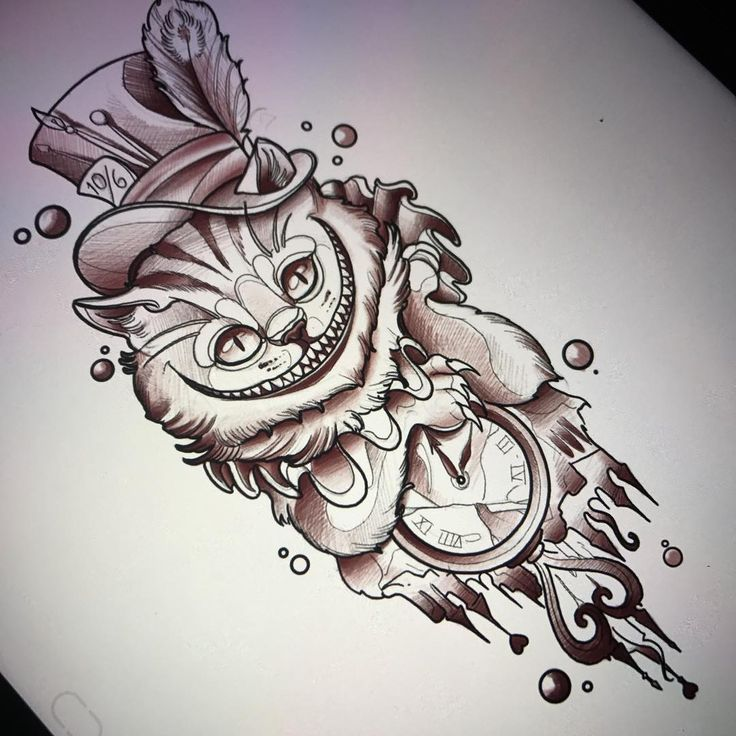 "481 Likes, 10 Comments - Fede (@fedealmanzor) on Instagram: ""We're All Mad Here ! Uno de los diseños que tatuaré en Alemania #traditional #neotraditional…"""