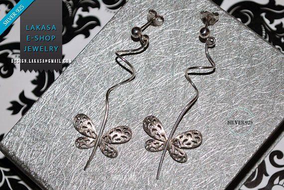 Butterfly Earrings Sterling Silver white Gold-plated Handmade #freeshipping #butterfly #floral #design #jewellery #earrings #jewelry #joyas #mujer #woman #moda #gift #silver #925 #silver925 #collection #fashion #σκουλαρικια #ασημενια #ασημι925 #πεταλουδες #λουλουδια #design #δωρεαν #μεταφορικα #αντικαταβολη