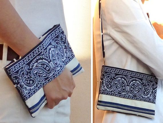 4 in 1 !!! wallet purse, wrist wallet, pouch bag white and blue