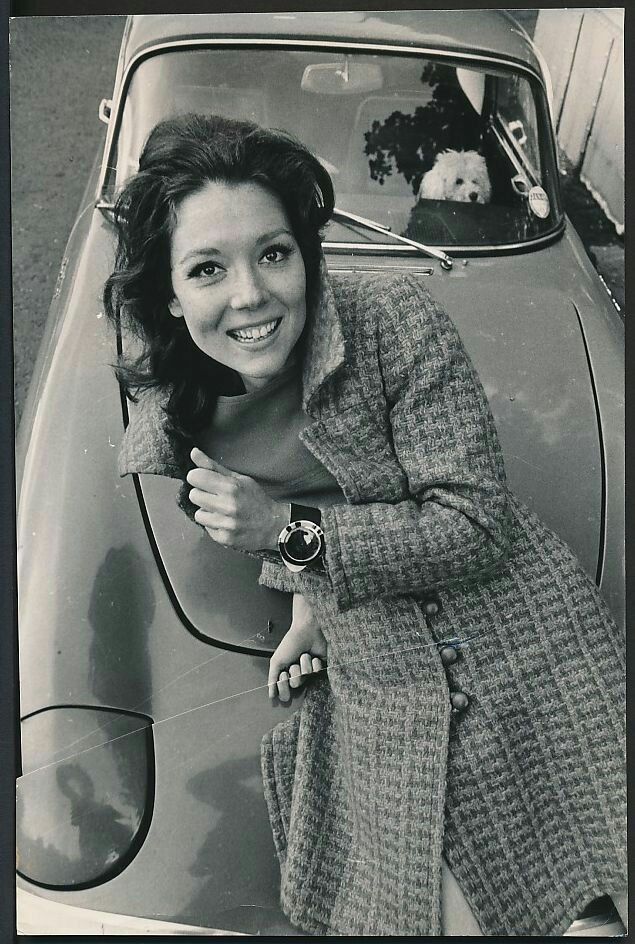 Mrs Emma Peel of 'The Avengers' (Diana Rigg), on the bonnet of her 1967 Lotus…