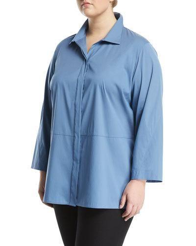 Zander 3/4 Sleeve Button-Front Blouse, Plus Size