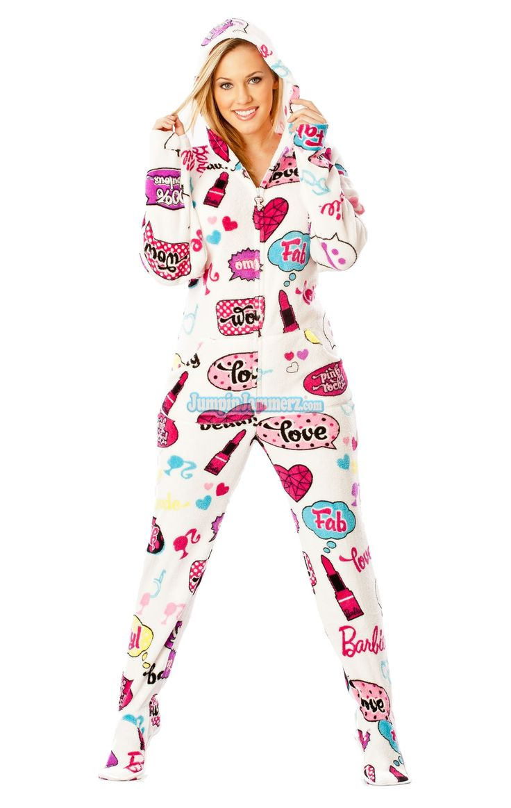 Barbie - OMG - Barbie Footed Pajamas - Pajamas Footie PJs Onesies One Piece Adult Pajamas - JumpinJammerz.com