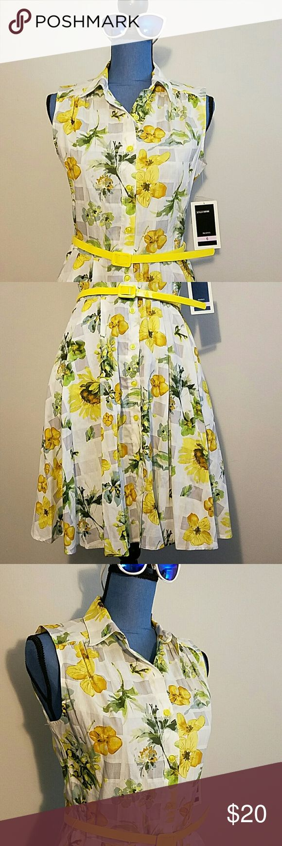 NWT Julian Taylor Sleeveless Floral Dress, Sz 6 New with tags Julian Taylor Sleeveless Floral Dress. Yellow sunflowers over light gray & white checked pattern. And it has pockets!!!  100% Cotton Size 6 Julian Taylor Dresses Midi