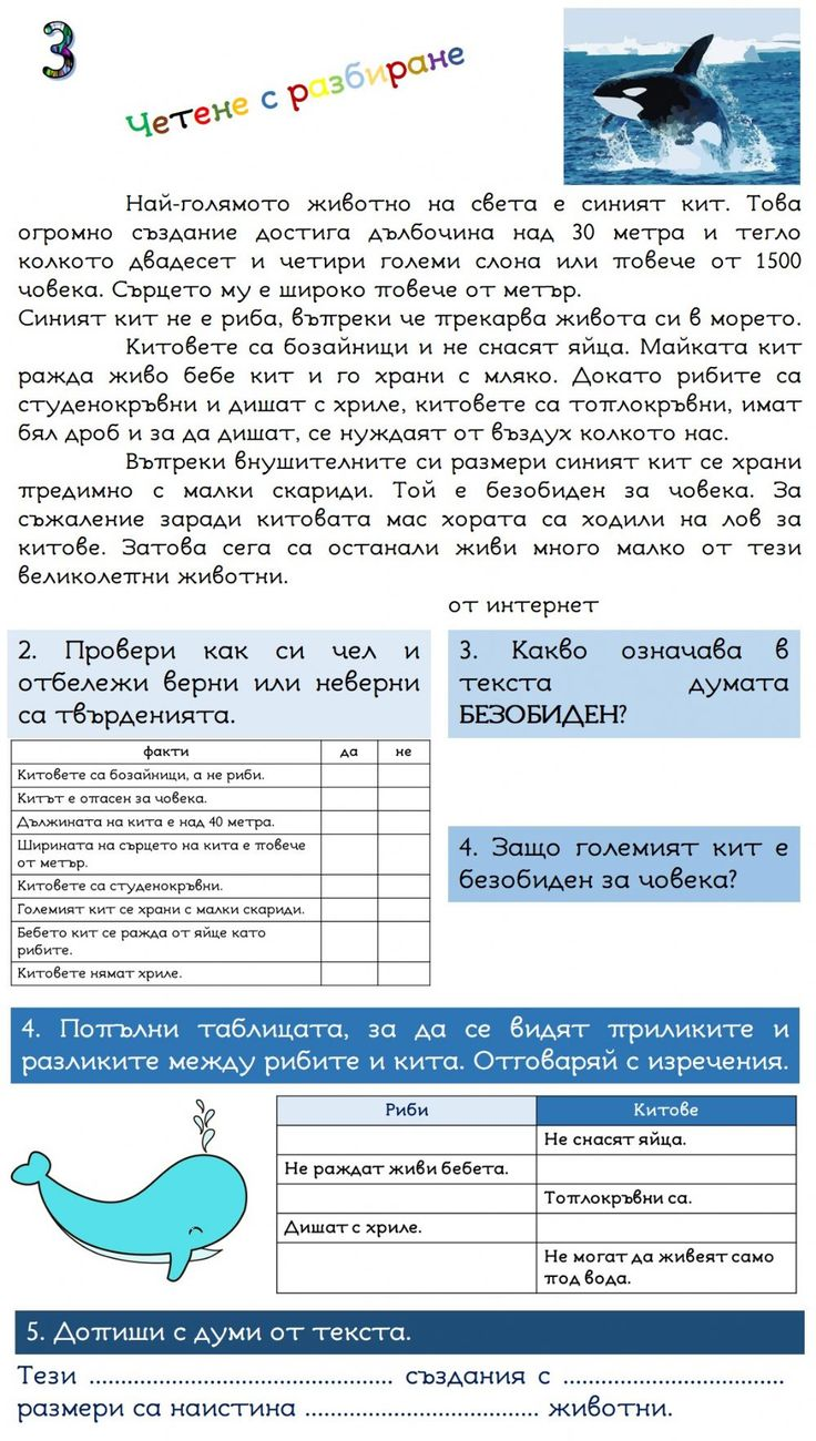 Четене с разбиране3 Interactive worksheet in 2020