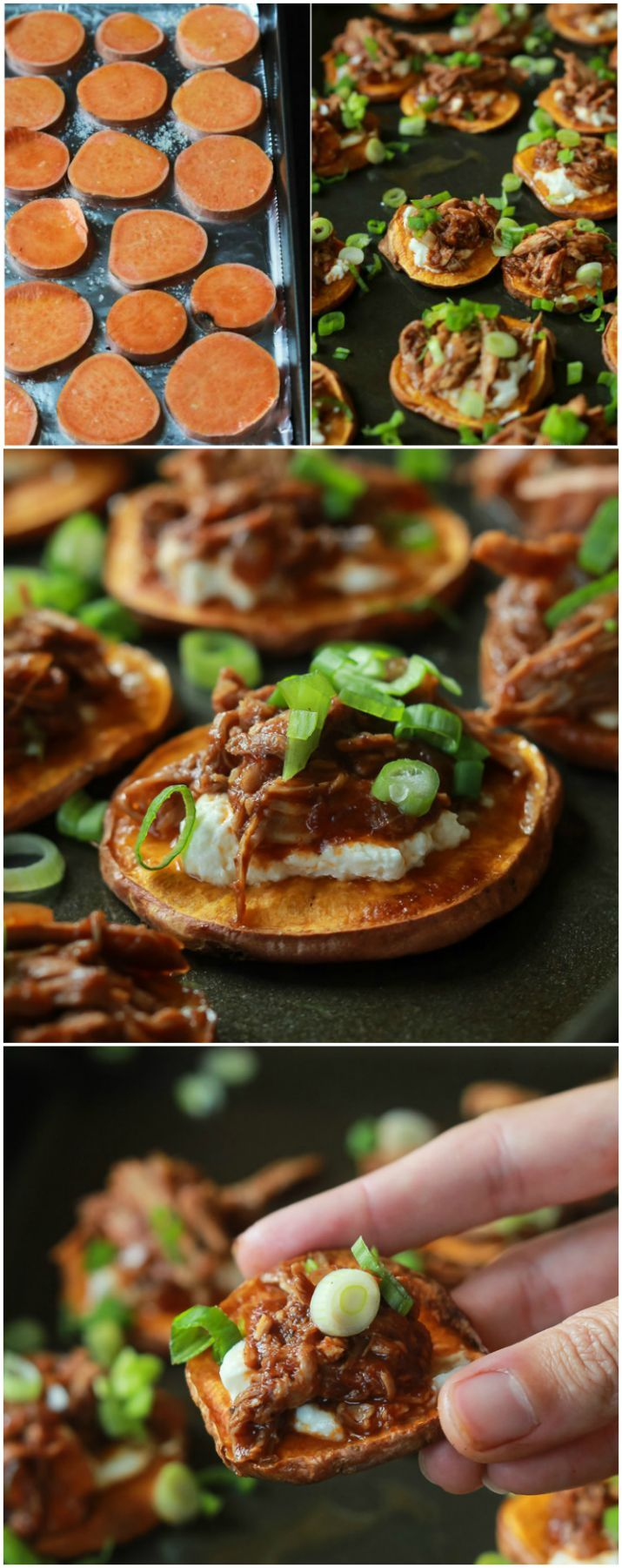 BBQ Pulled Pork Sweet Potato Bites - Topped with creamy whipped goat cheese and moist pulled pork with a few secret ingredients.