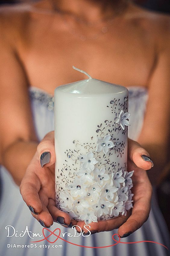 White flowers unity candle personalized votive от DiAmoreDS