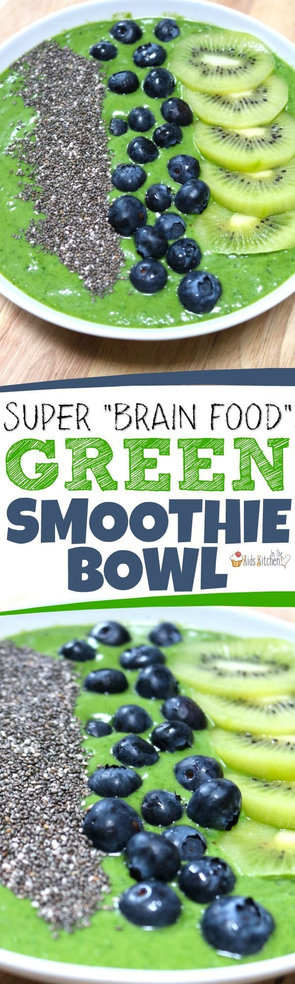 This Jungle Green Smoothie Bowl is a delicious brain-building treat! Kid-approved, packed with the goodness of greens, high in good fats, protein, & more!