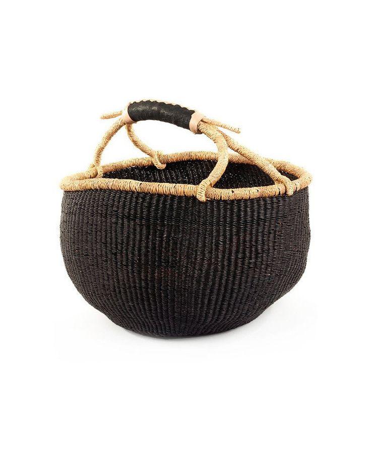Black Handmade Farmers Market Basket