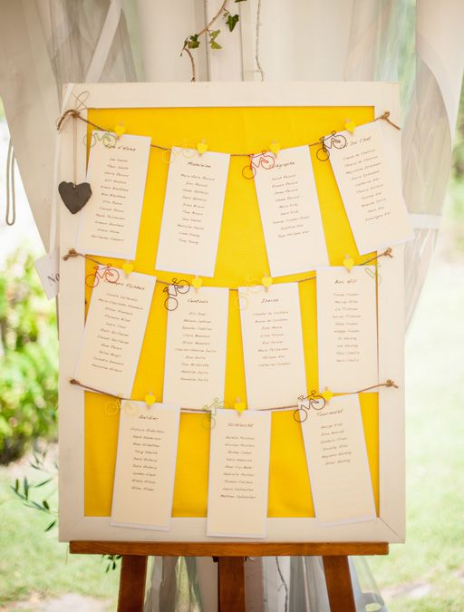 A Rustic Destination Wedding in France: Lee Smith & Fleur Record | Table Plan Inspiration | Yellow Themed Wedding | Weddings Abroad | Wedding Inspiration | www.weddingsite.co.uk