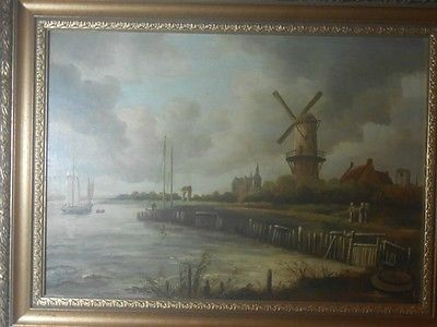 $100 Signed Ruisdael (or Ruysdael),Tower Mill at Wijk bij Duurstede | A Ruisdael signed oil painting in a beautiful frame with the title Tower Mill at Wijk bij Duurstede,Netherlands,c1670. This is a great painting that has no issue with the paint at all. The frame is very old as well. The painting is one of his more well known works and is a wonderful piece to hang and show. Jacob Isaackszoon van Ruisdael (or Ruysdael ) (c. 1628 – 14 March 1682) was a prolific Dutch landscape painter, and is…