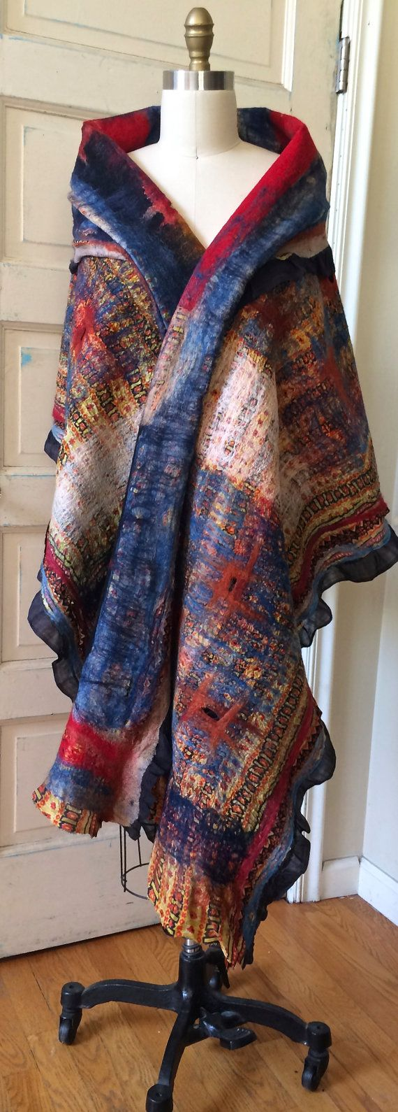SOLD Nuno Felted Shawl Nuno Felted Scarf by RainasTextileHouse