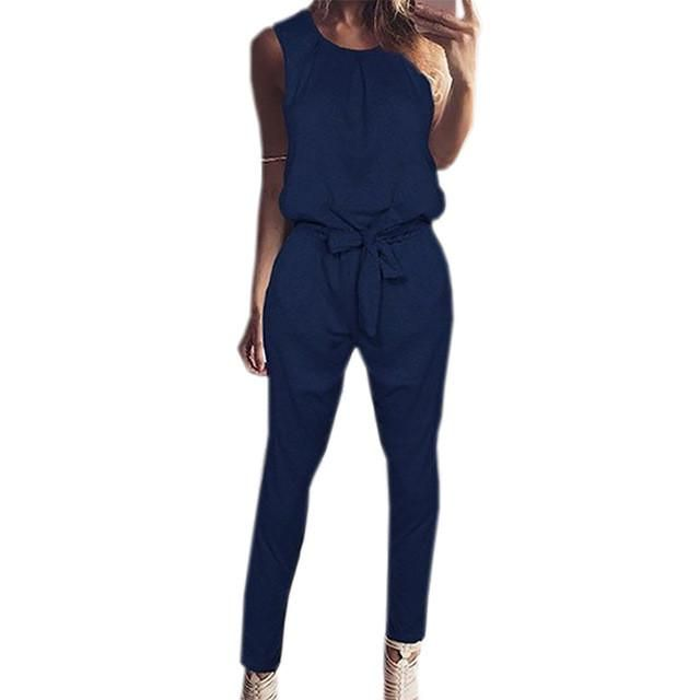 Autumn Women Casual Jumpsuits Sleeveless Lace-up Plus Size Jumpsuit Sexy Long Solid Playsuit Female Overalls for Woman GV830