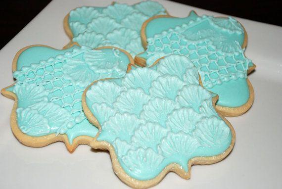 Élégant bleu fantaisie carré Plaque Cookie faveurs - une douzaine de mariage décoré de biscuits au sucre