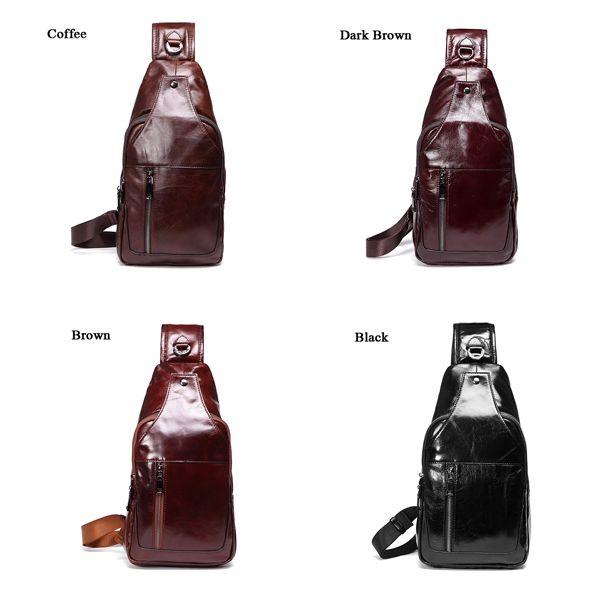 Men Business Genuine Leather Chest Bag Shoulder Bags Crossbody Bags