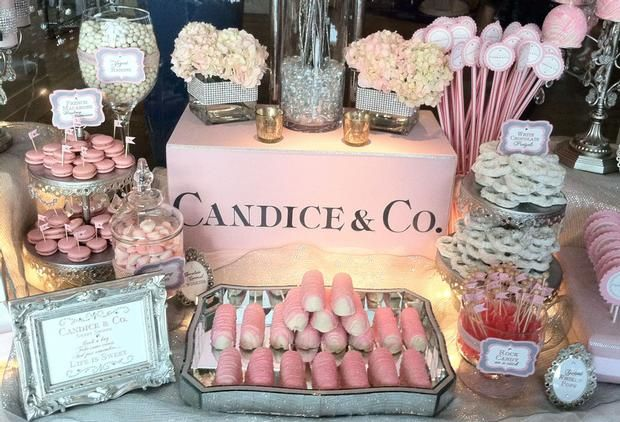 Hostess with the Mostess® - Tiffany PINK Candy & Dessert Table pinned by www.sweeteventdesign.com colors- pink, white, silver theme- tiffany, glamour occasion- wedding, bridal shower