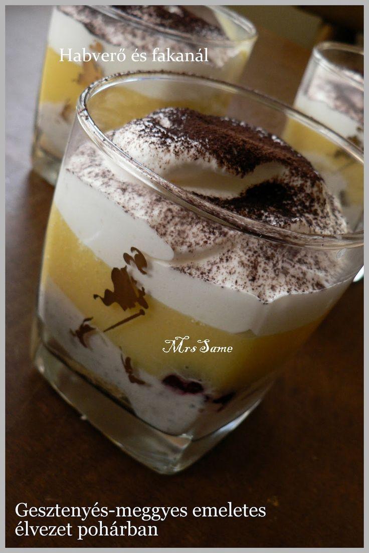 Gesztenyés-meggyes emeletes élvezet pohárban  (9 pohár) Hozzávalók : 1.réteg: babapiskóta rumos tej 2. réteg: 1 cs. ges...