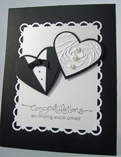 wedding hearts embossed: Cardmaking Inspiration, Wedding Cards, White Wedding, Cards Ideas, Two Heart, Scallops Trim, Congrat Cards, Cards Wedding, Paper Crafts