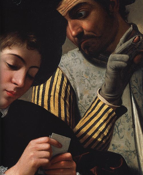 "Michelangelo Merisi da Caravaggio, ""The Cardplayers"" (detail), 1595"