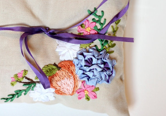 Michelle Edgemont, Southern Peach Ring Pillow, floral embroidery, $105.00, etsy ❤