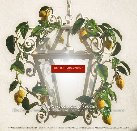Lantern with lemons. Country Kitchen. Design: Gianni Cresci. Made in Italy. All rights reserved
