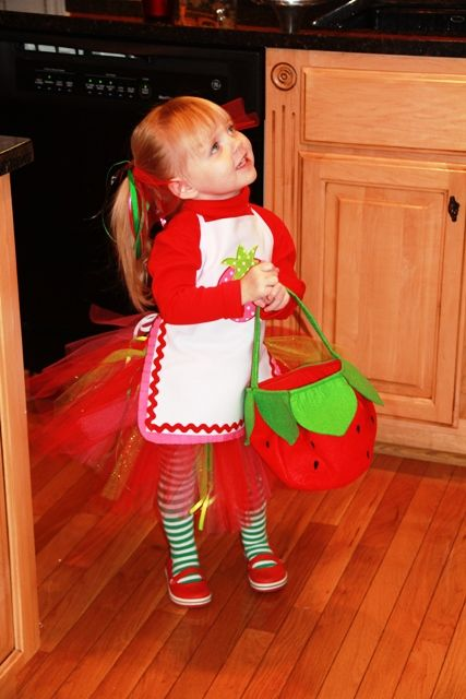 Costume: Red Slip On Crocs  Green & White Striped Tights  Pink, Red, Green Tulle Tutu  Red Turtle Neck  Apron  (she just bought a white one and appliqued the strawberry and decorated the edges w/ rickrack  Strawberry Treat Bag