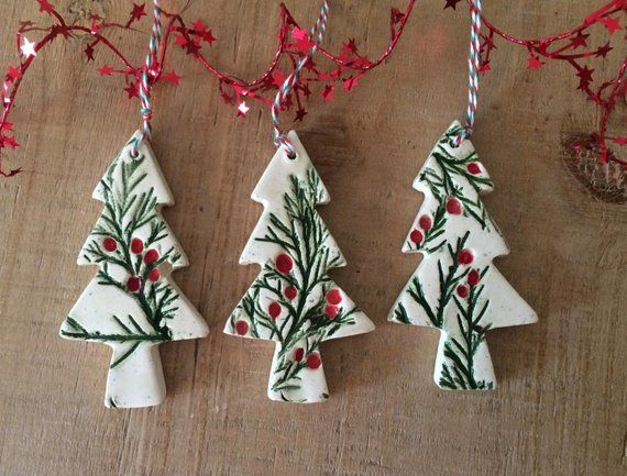 7 For 1 Set 21 A Beautiful Set Of 3 Handmade Ceramic Christmas Tree Ornaments While The C Christmas Ornaments Ceramic Christmas Decorations Christmas Clay