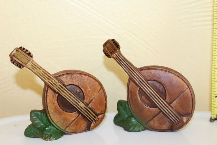 Ceramic Mandolin tilted tropic leaves Salt Pepper Shaker Set Box 11