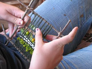 Twig Loom: Tie small twigs together for the loom. Wrap with yarn and weave! Try weaving with different width and textured materials, even paper. Construction paper strips, twisted tissue paper or crepe paper can be colorful and pretty. Wider or thicker material will fill your loom quickly, finishing the project faster.