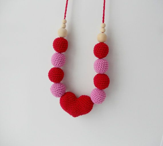Nursing necklace Valentine's gift red heart от WarmGiftsForYou