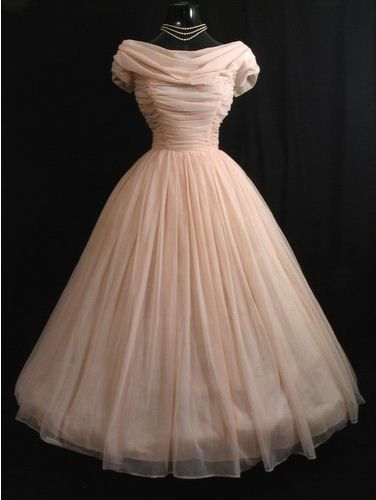 pink chiffon! This would be an ideal dress in white with less poof and a lower neckline