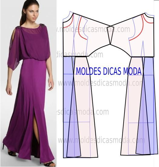 Analise de forma detalhada o desenho do molde vestido lilás. Vestido simples e arrojado que veste de forma muito elegante. PASSO A PASSO MOLDE VESTIDO LILÁ
