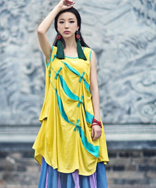 Oblique Block Drape Sundress Ethnic Linen Vest Shirt