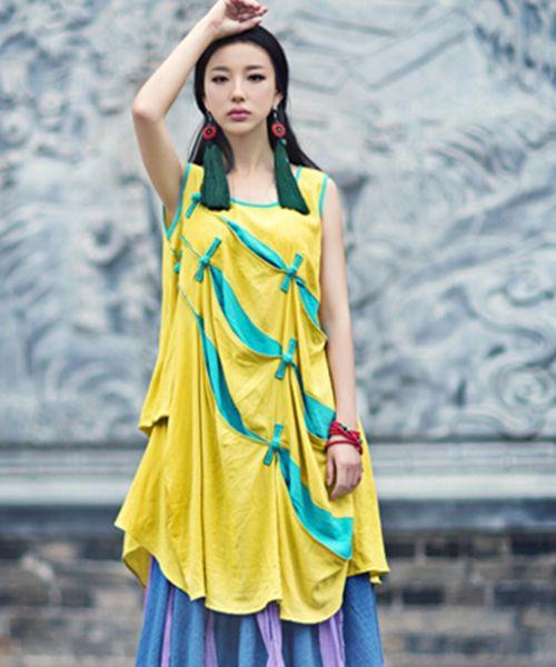 Oblique Block Drape Sundress Ethnic Linen Vest Shirt