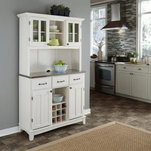 Home Styles Three-Drawer 44 in. W White Buffet with Stainless Top and Hutch 5100-0023-22 at The Home Depot - Mobile