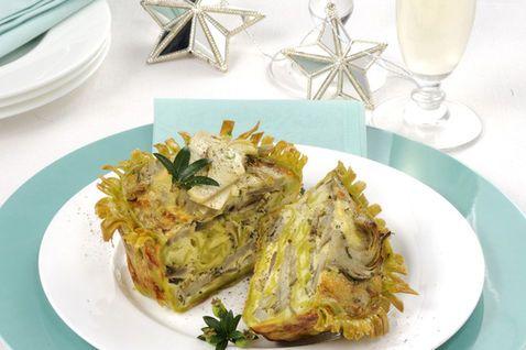 Cestini di tagliatelle con carciofi e gorgonzola