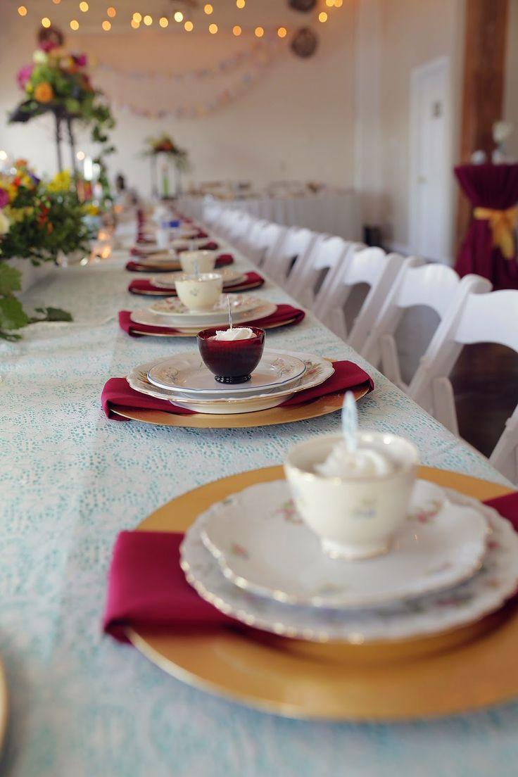 Alice in Wonderland Themed Wedding - Dinner Plate Setup with Teacups RSVP: The RiverRoom Blog