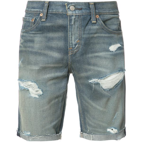 Levi's - ripped denim shorts - men - Cotton - 29 ($87) ❤ liked on Polyvore featuring men's fashion, men's clothing, men's shorts, blue, mens denim shorts, mens ripped denim shorts, mens clothing, levi mens shorts and mens distressed denim shorts