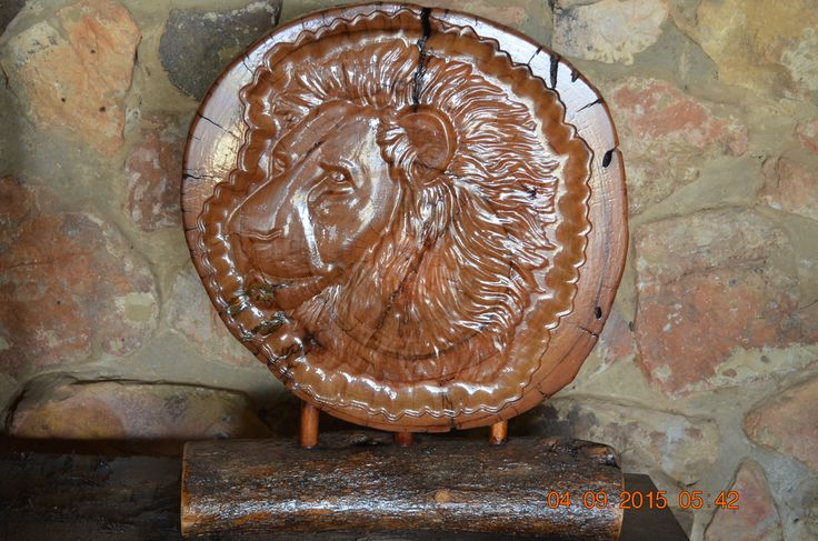 Lion Head carved log stand