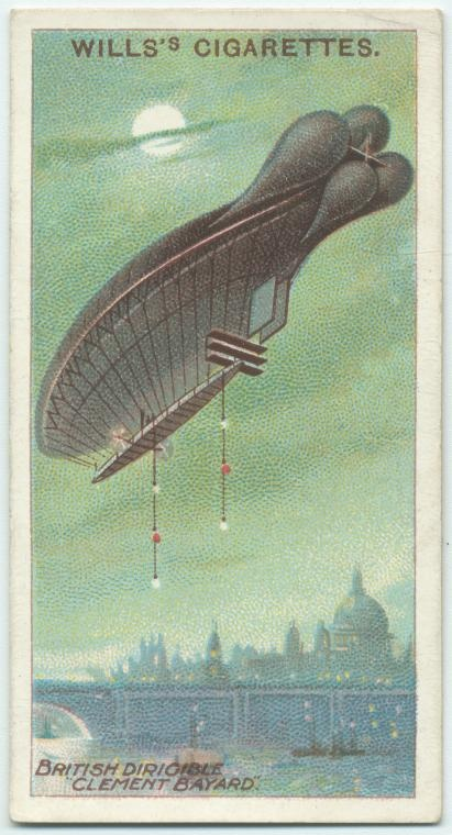 British dirigible Clement Bayard. (ca. 1909-1912) From a 50-card set of Wills Cigarette Cards.