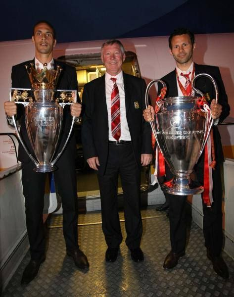 Rio Ferdinand, Sir Alex Ferguson & Ryan Giggs, Manchester United