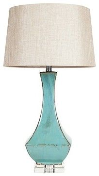 Turquoise ceramic and lucite table lamp midcentury table lamps