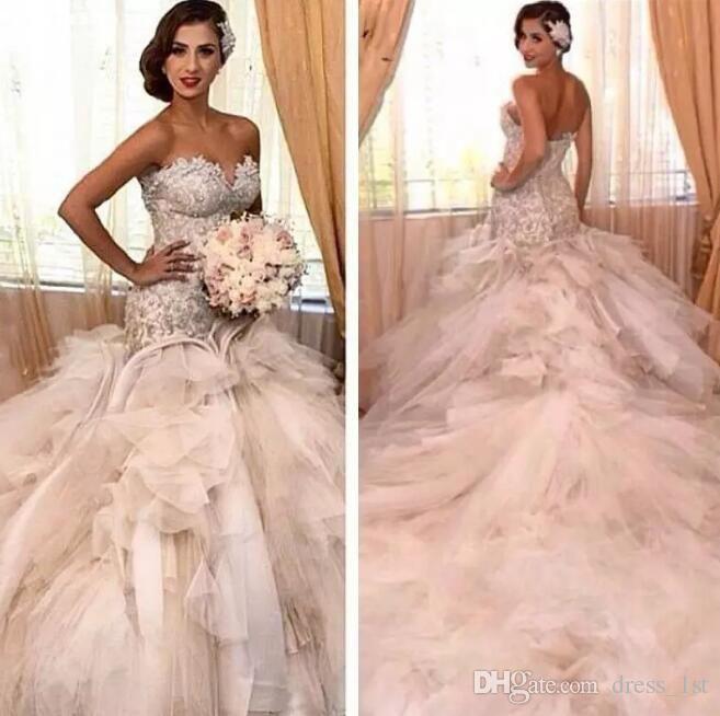 2017 Vintage Sweetheart Tulle Mermaid Wedding Dresses Luxury Lace Applique Top Corset Ruffle Bridal Gown Wedding Dresses Mermaid Sweetheart Fairy Wedding Dress