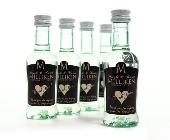 Custom Mini Bottle Labels - Unique Wedding Favors - Thank You Hearts - Set of 75