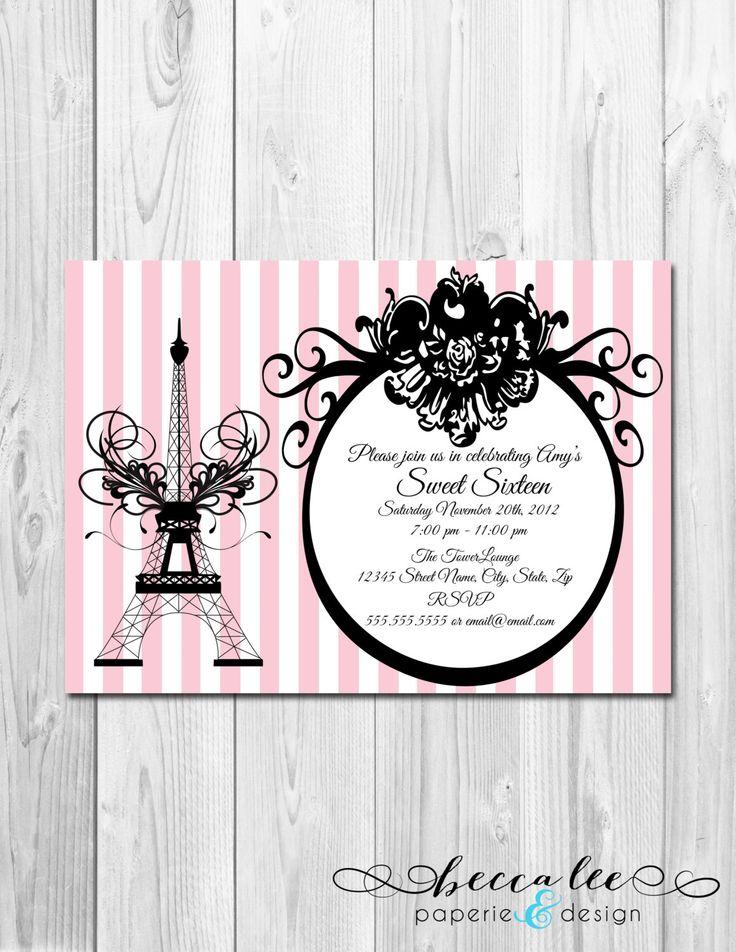 Paris themed bridal shower invitations idea quince era for Paris themed invitations bridal shower