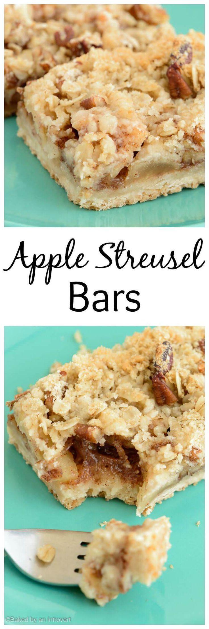 Apple Streusel Bars | Dessert | Fall via @introvertbaker