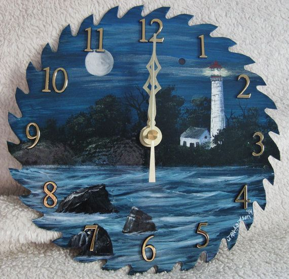 Hey, I found this really awesome Etsy listing at https://www.etsy.com/listing/213517200/hand-painted-saw-blade-clock-lighthouse