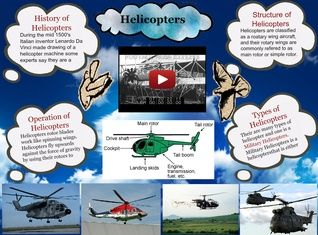 A helicopter is a type of rotorcraft in which lift and thrust are supplied by rotors. This allows the helicopter to take off and land vertically, to hover, and to fly forward #glogster #helicopter